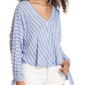 Free People Morning Striped Blue Dolman Knit Top